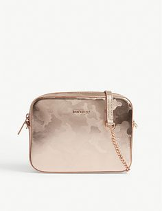 44028eeff0298 TED BAKER Camouflage-print metallic leather camera bag