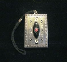 1900s Silver Compact Wristlet Purse Enamel Powder Rouge Lipstick Mirror Dance Purse