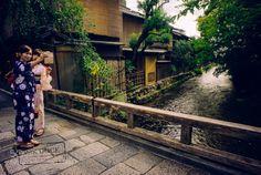 Selfie in Gion by PAkDocK  water river travel bridge girls japan smiling kyoto sony funny phone stick colorful houses mobile ki