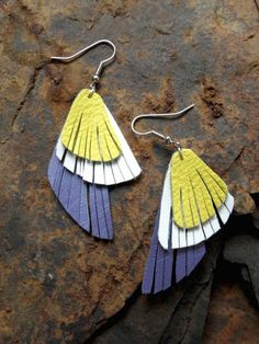 Layered feathery leather earrings