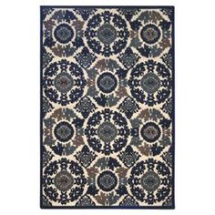 Indoor/Outdoor rug made in the USA.Product: Rug  Construction Material: Polypropylene and olefin Color: Azul and cream Features:   Flowing medallion motif Plush, comfortable pile Woven   Note: Please be aware that actual colors may vary from those shown on your screen. Accent rugs may also not show the entire pattern that the corresponding area rugs have.