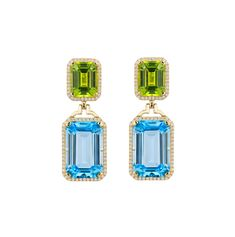 Gossip Collection Emerald Cut Earrings With Topaz & Peridot , Earrings Drops, Goshwara Bridal Earrings, Ring Earrings, Bridal Jewelry, Silver Earrings, Peridot Earrings, Diamond Drop Earrings, Luxury Jewelry, Blue Topaz, Fine Jewelry