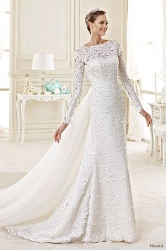 nicole spose bridal 2015 style 54 niab15034iv bateau long sleeves sheath wedding dress