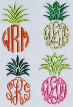 Pineapple Frames Pack Embroidery Designs | Apex Embroidery Designs, Monogram Fonts & Alphabets