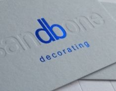 540gm cool blue business card; foils: metallic blue, blind deboss. Please visit our website at www.ultimatebusinesscards.co,uk for further information on our range of custom made cards.
