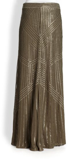 Pearl Silk Georgette Sequined Maxi Skirt - Lyst