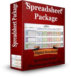 Spreadsheet Package for Churches and Nonprofits that includes accounting workbook, contribution tracking workbook, and much more.