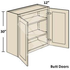 W3630 - Shaker Maple White Wall Cabinet (2 Butt Door) - Ready To Assemble Kitchen Cabinet - RTA