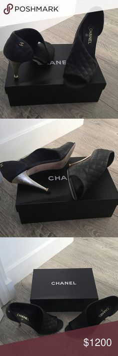 Authentic chanel quilted leather heels Worn once // in prestige condition// Chanel Black Quilted Leather Slide Heel Shoe Gold Heel Cc Logo ... The shoes look brand new. Only sign of wear is on the bottom of shoe. Seriously so beautiful and comfortable. Size 41.5 but fit more like a 10 or 10.5 because of open toe ..come on original box with dust bag CHANEL Shoes Heels