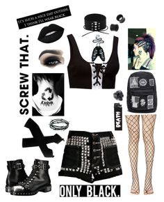 """""""Gothic Black"""" by literaldisaster ❤ liked on Polyvore featuring Puma, Leg Avenue, Alexander McQueen, Lime Crime, Too Faced Cosmetics, NOVICA, Barbed and REGENCY"""