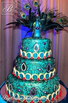 Cakes and Cupcakes peacock-inspired wedding cake