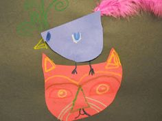"""Art project based on Paul Klee's """"Cat and Bird"""" and also reading Lois Ehlert's """"Feathers for Lunch"""".  Doing this!"""
