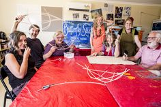 "Liz, Syd, Catherine, Lee, Ona, Sarah & Malcolm - ""Butterfly Effect"" artists 2014 in the Butterfly Studio."