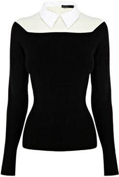 Karen Millen Black Shirt Collar Knit Jumper // uhm, yes! Office Fashion, Work Fashion, Fashion Outfits, Karen Millen, Teen Girl Fashion, Womens Fashion, Classic Style Women, Work Attire, Spring Couture