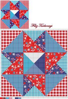 Bir tane daha kırkyama kanaviçe desenini  sunuyorum sizlere... ( patchwork ) Designed by Filiz Türkocağı...