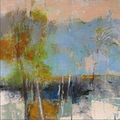 """Gold Horizon-Abstract Landscape by Joan Fullerton Glass ~ 24"""" x 24"""""""