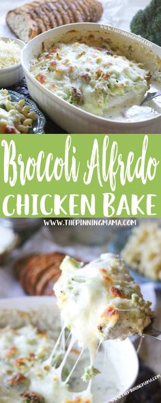 Only one dish and a few ingredients and you come out with a hot fresh super delicious dinner. This Easy Broccoli Alfredo Chicken Bake Recipe is perfect when you are looking for easy weeknight dinner ideas. Add this to y Paleo Recipes, New Recipes, Baking Recipes, Favorite Recipes, Paleo Food, Family Recipes, Yummy Recipes, Easy Dinner Recipes, Kitchen
