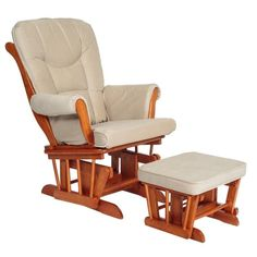 Shop for Mikaila Sleigh Glider/ Ottoman. Get free delivery On EVERYTHING* Overstock - Your Online Furniture Shop! Glider And Ottoman, Glider Chair, Space Furniture, Gliders, Rocking Chair, Hardwood, Cushions, Pecan, Brown