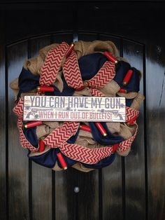 Burlap Wreath with Shotgun Shells by ElleWoodCreations on Etsy, $75.00