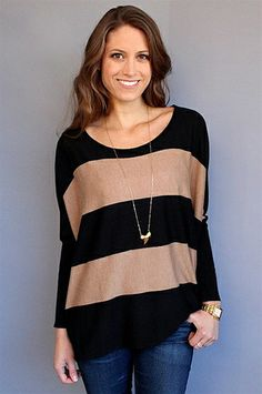Feel the Piece Black + Tan Thea Striped Boxy Sweater at Rosie True. This sweater has such a great shape.