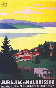 PLM - Jura - Lac de Malbuisson Autocars P.L.M. au départ de Besançon - vers 1930 - (Roger Broders) -