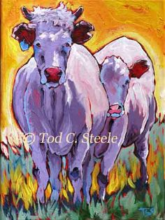 Cow Painting Art Print Don't Mess With Mama by TodSteeleAnimalArt