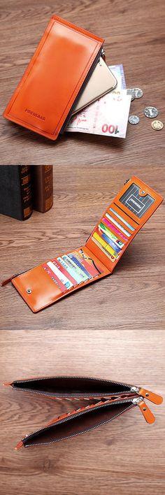 $7.24 Ultrathin 15 Card Slots Business Long Zipper Wallet