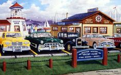 Lots of nice classic cars parked outside the yacht club and seafood restaurants in Ken Zylla's Lap of Luxury.