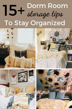 All of the storage and organization products that you need for your college dorm room! Here, you'll find ideas for your closet, desk, and under bed. These hacks are the best space saving storage options! Tips on things like shelves, ways to store your clothes, and just how to organize you college dorm room in a minimalist way. Click to see all 15! #college #dormroom #storage #organization Cozy Dorm Room, Dorm Room Storage, Dorm Room Organization, Cute Dorm Rooms, College Dorm Checklist, College Dorm Essentials, College Hacks, Diy Dorm Decor, College Dorm Decorations
