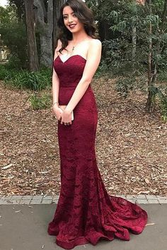 Prom Dress, Chic Burgundy Sweetheart Mermaid Long Prom Dresses, Lace Prom Dress,Party Dresses, Prom Gowns,