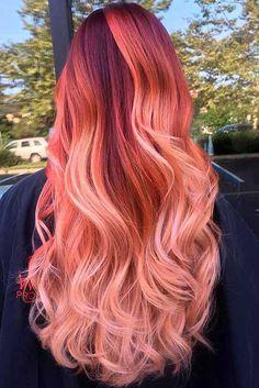 Einzigartige Neon-Pink und Orange Haar-Farbe