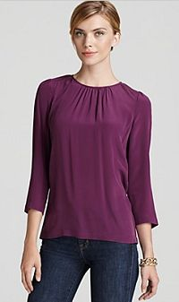 Tegan Top - Silk Solid Long Sleeve Button Back