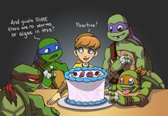 """Happy Mutation Day by m3ru """"My headcanon for this pic is April buys them a cake and it's the first """"real"""" cake they've ever had. After Mikey's countless algae and worm cakes over the years they're all excited to find out what legit cake tastes like. But Leo, being Leo, has to double check. Also because he really, really doesn't want algae and/or worms ever again!"""""""