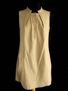 PIAZZA SEMPIONE * Camel Tan COTTON STRETCH BUTTON FRONT SLEEVELESS DRESS~46/10 $179.50