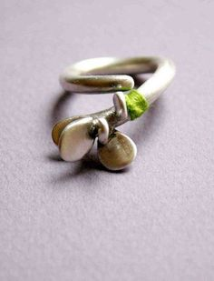 Sterling Silver Ring with Grass Green Thread