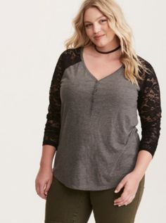 Lace Sleeve Henley Tee in Black