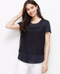 Lace Front Crepe Tee
