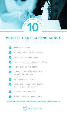 wedding songs The perfect songs to compliment that special moment of cutting your wedding cake. Wedding Song Playlist, Wedding Song List, Best Wedding Songs, Cute Wedding Ideas, Wedding Tips, Our Wedding, Dream Wedding, Wedding Shot, Budget Wedding