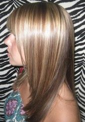 Dark Blonde base with high lites and mocha lowlights with same color used for underneath