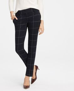 """Strikingly patterned in rich seasonal hues, our mod ankle pants deliver a dose of graphic gorgeous in a sleek, slim silhouette. Contoured waistband. Front zipper with double hook-and-bar closure. Front off-seam pockets. Back welt pockets. 28"""" inseam."""