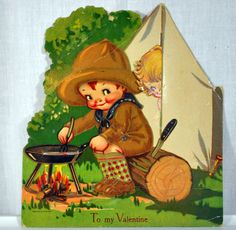 Vintage Mechanical 1930s Valentine Antique Boy Scout Camping with Girl in the Tent - Printed in Germany