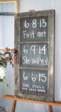How cute and unique is this chalkboard timeline of all a couple's milestones?! You - and your guests - will love it, and the best part is it's so easy to put together!