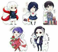 Kaneki, Touka, Shuu, Uta, cute, chibi, ghouls, dark hair, eye patch, white hair, ghouls, kagune, bunnies, rabbits, text; Tokyo Ghoul