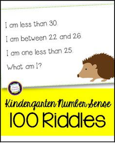 Build math vocabulary and number sense with this set of 100 three-step riddle cards for the numbers one through 100. they're an engaging addition to your calendar time and a great basis for number talks! This set also includes an answer key, themed hundred chart, games, graphing activities, and 35 bonus write-and-wipe number sequence strips for your math centers. Math Riddles With Answers, Number Riddles, Number Sense Activities, Graphing Activities, Kindergarten Math Activities, Math Literacy, Math Classroom, Maths Riddles, Math Lab