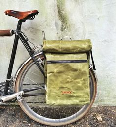 Green waxed canvas pannier backpack, bicycle bag, cycle accessory by anhaicabagworks on Etsy