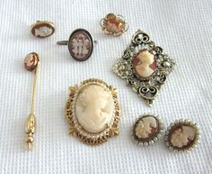 CAMEO Jewelry Lot Carved SHELL Vintage BROOCH  Pin by jewelryannie, $25.00
