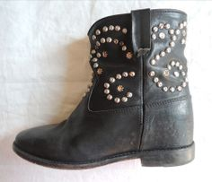 ~ ISABEL MARANT CALEEN LEATHER STUDDED CROPPED BOOTS / BOOTIES (CEELB FAVE!) 38