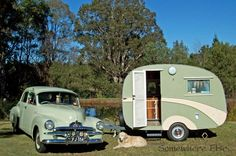 "Iconically Australian than an FJ Holden pulling a cutely rounded wooden caravan? This 1955 FJ and caravan/trailer nick-named ""Driftwood"" belong to Bob and Yvonne K, who have quite a collection of Australiana plus a few other vintage caravans s Caravan Vintage, Vintage Rv, Vintage Caravans, Vintage Vans, Vintage Homes, Vintage Campers Trailers, Retro Campers, Camper Trailers, Bicycles"