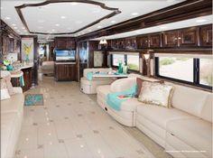 2013 Tiffin Allegro Bus - Living Area - Creme Brulée Interior with Glazed Cordovan Cabinets