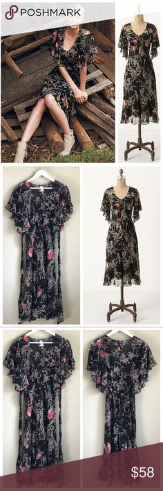 "ANTHROPOLOGIE Silk Floral FLORI Dress ANTHROPOLOGIE ""Girls From Savoy"" ""FLORI"" Dress Size 8  Empire waist, lovely ruffled sleeves, attached sash which ties in the back or the front. 100% Silk  Semi-Sheer Sold without a black slip and price adjusted to reflect missing piece EUC  Measurements taken while laying garment flat (one side) - approx: ~Bust 19"" ~Length 46""  :::: Thank you for looking and please check out the rest of my closet. ::: Anthropologie Dresses Midi"
